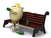 Haired drunkard puppet sitting on park bench — Stock Photo
