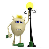 Haired drunkard puppet standing near metal latern — Stock Photo