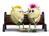 Look on drunkard puppets sitting on bench — Foto Stock
