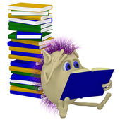 3D puppet sitting before pile of books — Stock Photo