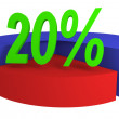 Diagram with 20% sales — Stock Photo