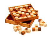 Puzzle of the wooden bars — Stock Photo