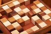 Puzzle drewniane słupki — Zdjęcie stockowe