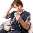 Knitting man craft knit — Stock Photo