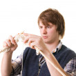Knitting man craft knit — Stock Photo #5464364