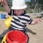 Child sandpit sand bucket — Stock Photo #5753088