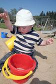 Child sandpit sand bucket — Stockfoto