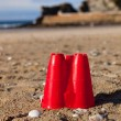Sandcastle bucket beach sand Cornwall — Stock Photo