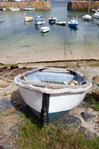 Cornwall boats harbor Mousehole fishing villlage — Stock Photo