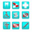 Blue Medical Icons — Vector de stock #6629177
