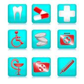 Iconos de médicos azules — Vector de stock