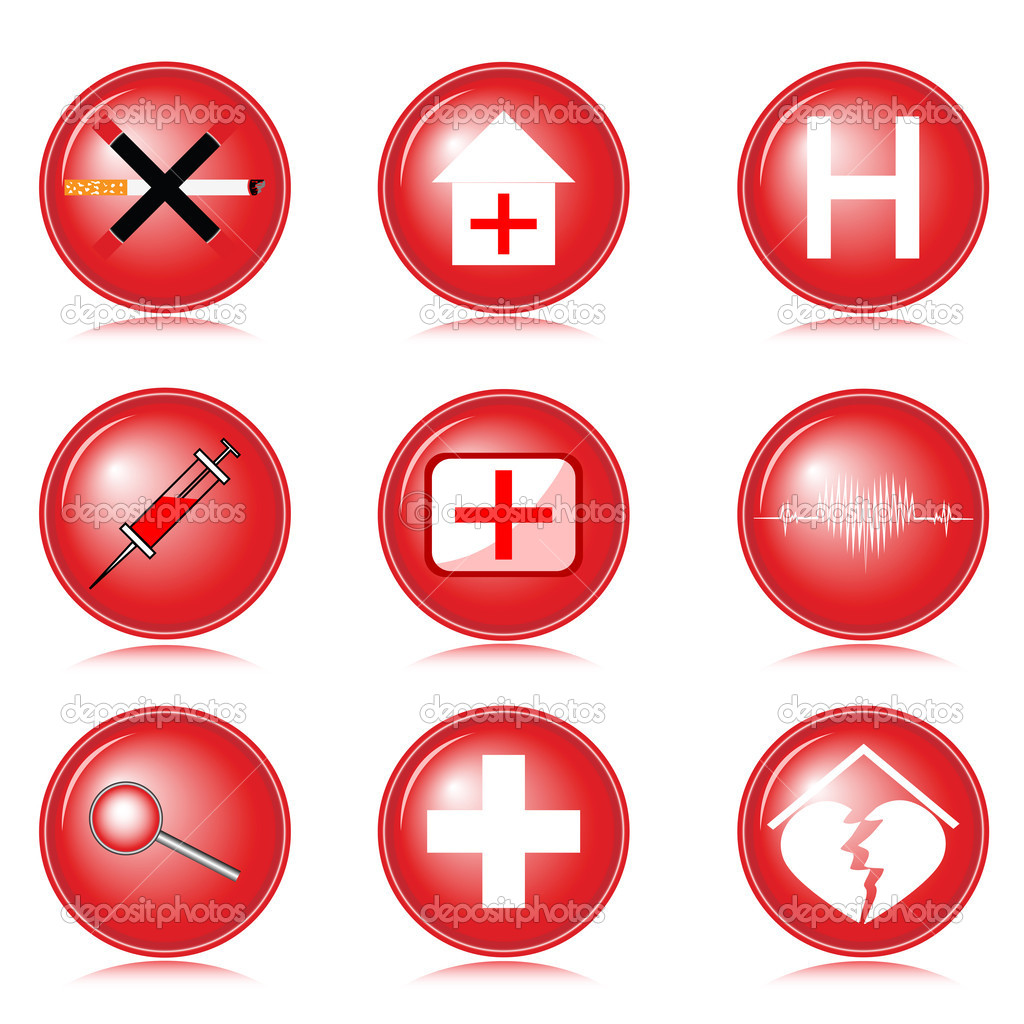 Set of medical icons executed in red on a white background — Stock Vector #6629195