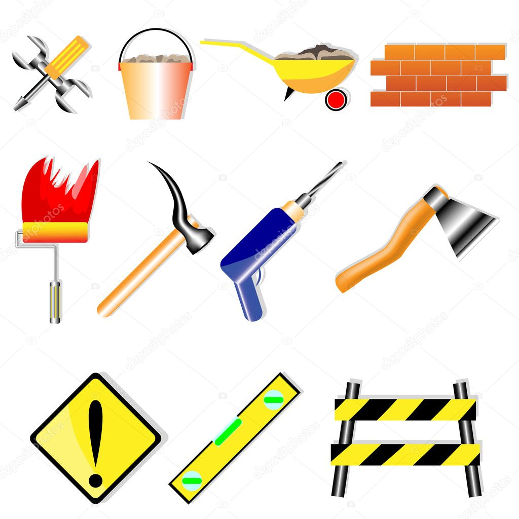 A set of icons for various building designs on a white background — Stock Vector #6629199