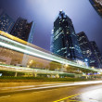 Traffic in Hong Kong at night — Stock Photo #5432461