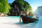 Long boat at island in Thailand — Stock Photo