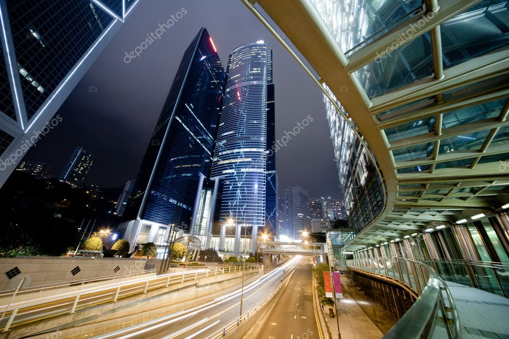 Traffic in Hong Kong at night — Stock Photo #5493830