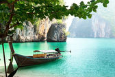 Long boat on island in Thailand — Stock Photo