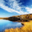 Mountain autumn lake in north of Russia — Stok fotoğraf