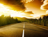 Sunset on the road — Foto Stock