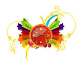 Red clock on the colored stars — Stock Vector