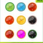 Cretive colored clocks on the white — Stock Vector