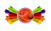 Sport basket och fire ball tecken — Stockvektor