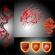 Emblems and dragons red color isolated - Stock Vector
