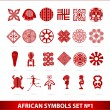 Stock Vector: Africsymbols set red color isolated