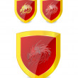 Dragons set on the emblem gold and red color - Stock Vector