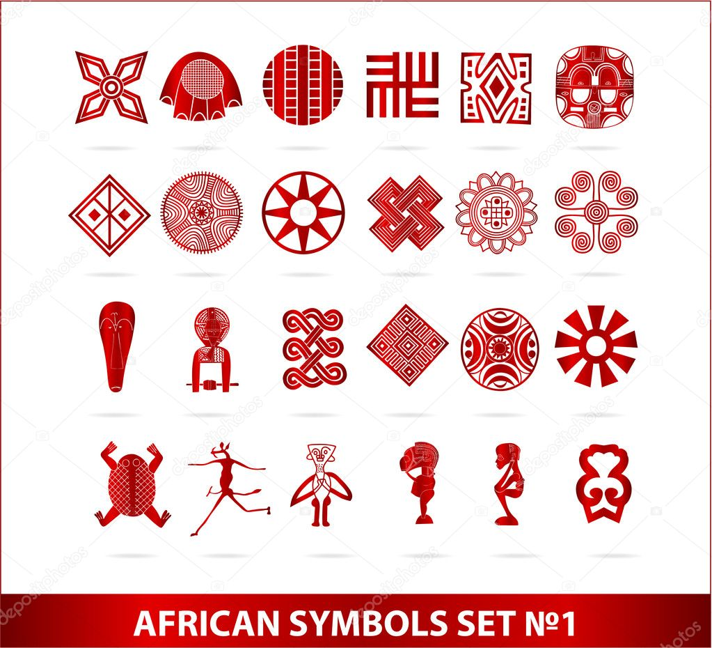 African Symbols For Love African Symbols Set Red Color