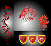 Emblems and dragons red color isolated — Stock Vector