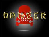 Danger skull sign on the black background — Stock Vector