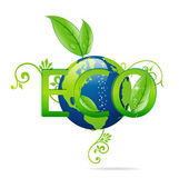 Eco green and clear blue earth symbol — Stock Vector