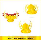Campane di vetro oro impostare isolate — Vettoriale Stock