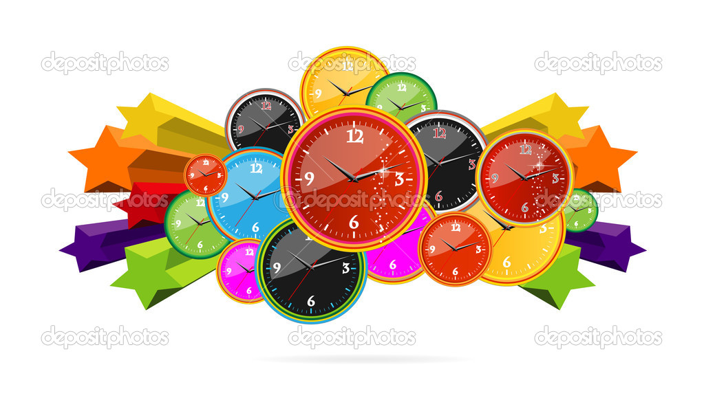 Colored and creative clocks on the stars — Stock Vector #5941301