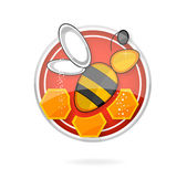 Glass medic bee on the red circle — Stock Vector