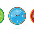 Stock Vector: Colored and creative classic clocks set
