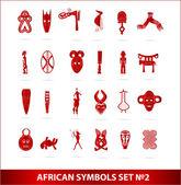 Simboli africani dio impostare colore rosso vettoriale — Vettoriale Stock