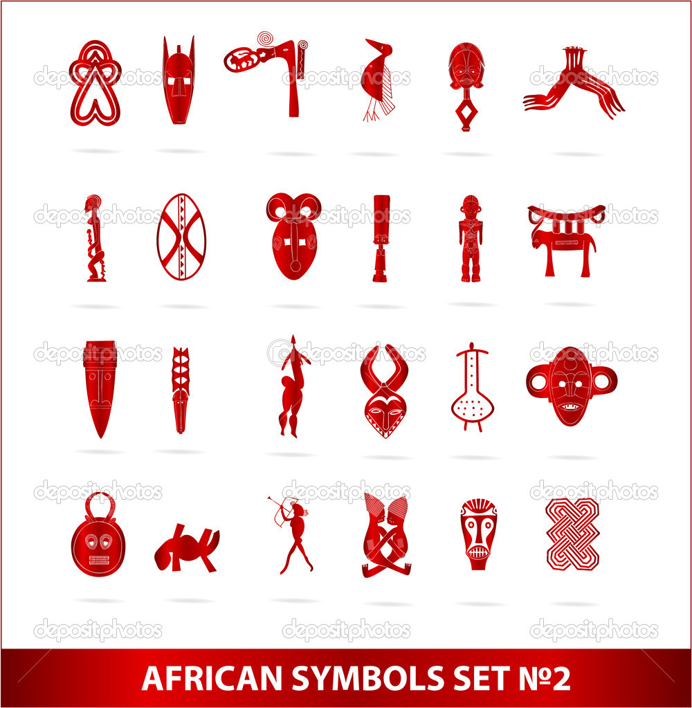 god african symbols set vector red color � stock vector