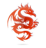 Glass asia dragon red color isolated — Stock Vector