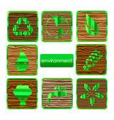 środowiska przyrody i eco zestaw znak — Wektor stockowy