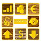 Símbolos de oro finanzas sistema aislados — Vector de stock