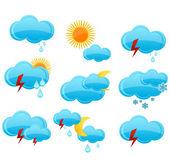 Web weather symbols set blue color — Stock Vector