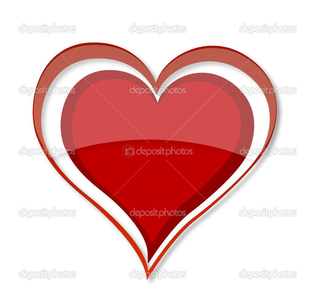 Shiny love heart symbol red color — Stock Vector © kednert #6463855