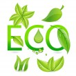 Nature eco leafs symbols set — Stock Vector