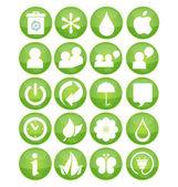 Nature eco symbola set green color — Stock Vector