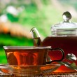 Stock Photo: Teapot and cup of tea