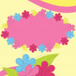 Greeting card with flowers and strips — Stock Vector