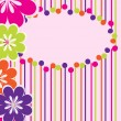 Greeting card with flowers and strips — Imagens vectoriais em stock