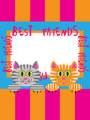 Greeting card with cats — Stock Vector